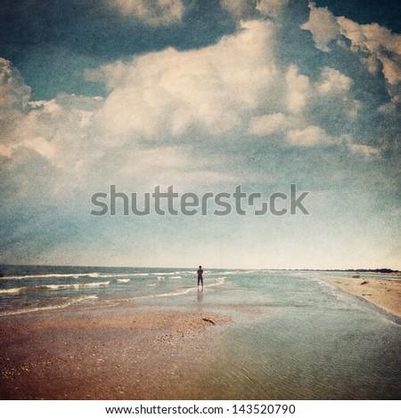 landscape on a background clouds sky - stock photo