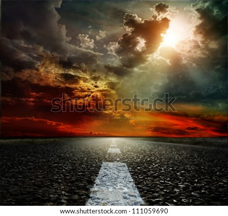 landscape road, clouds and the blue sky - stock photo