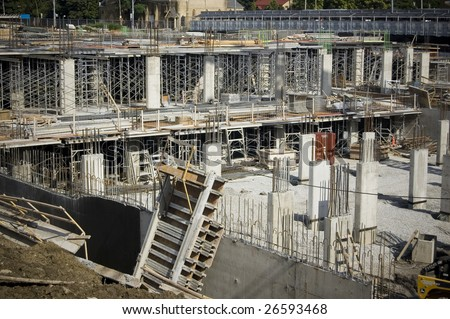 landscape with  construction site /  industrial background - stock photo