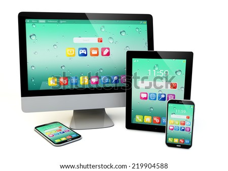 laptop, notebook or netbook PC, mini tablet computer, touchscreen smartphone and desktop monitor display screen TV isolated on white - stock photo