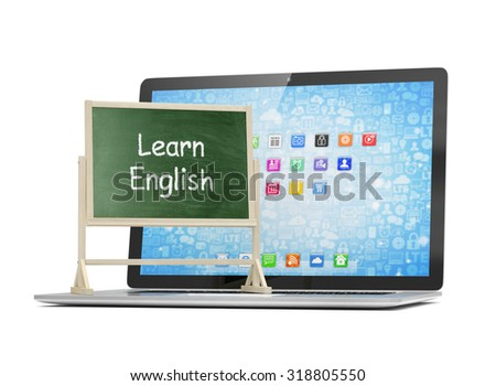 Laptop with chalkboard, learn english, online education concept - stock photo