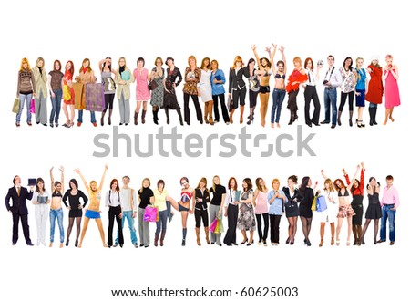 2 large groups. Groups of business youth series - stock photo