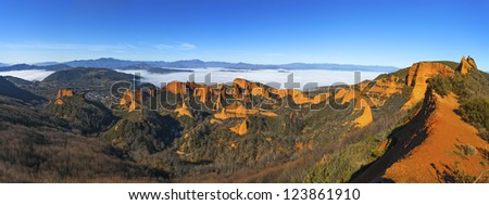 """Las Medulas"" ancient Roman mines on Winter with fog, Leon, Spain. - stock photo"