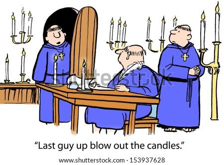 """Last guy up blow out the candles."" - stock photo"