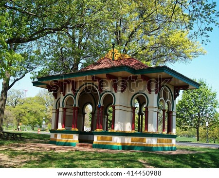"""Latrobe Pavilion"":  Asian-inspired structure located in Druid Hill Park (Baltimore, MD).  Structure mainly used by those visiting the park who have rented this space for parties and other gatherings."