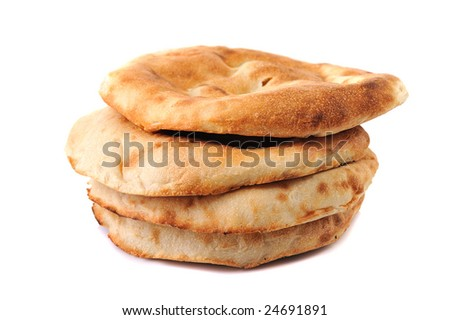 lavashes- flat unleavened wheat bread isolated on white