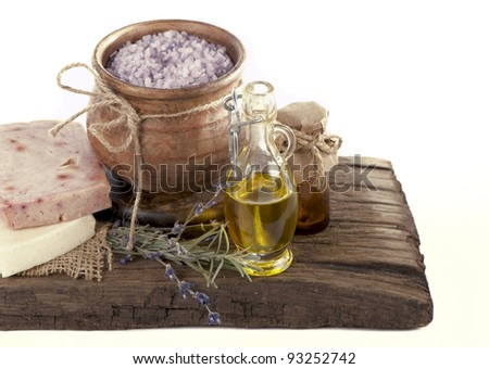 lavender and organic lavender soap over old wooden tray. best suited for relaxing and health commercials - stock photo