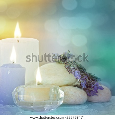 Lavender, zen stones and candles - stock photo