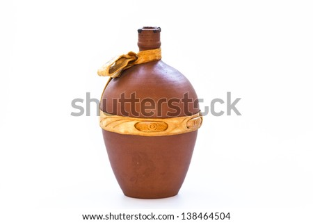 ?lay wine bottle on a white background
