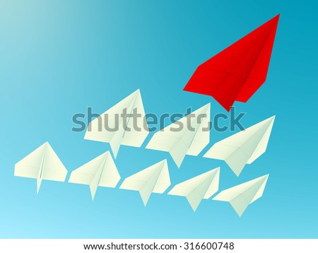Leadership concept. One red leader plane leads other blue planes forward