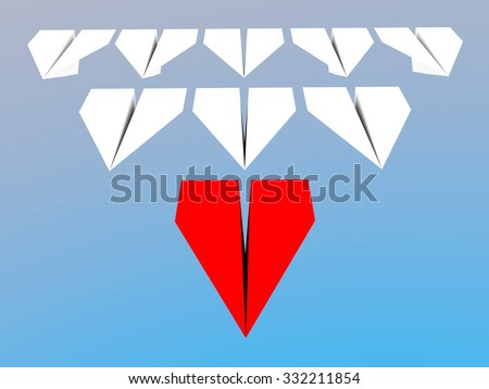 Leadership concept. One red paper leader plane leads other white ones forward - stock photo