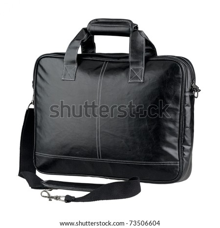 Leather computer bag or brief case isolated on white