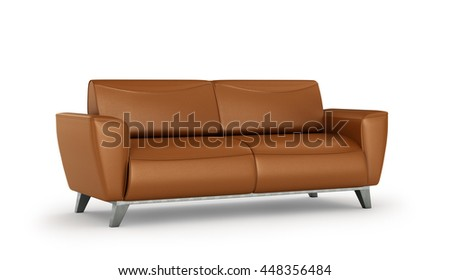 leather sofa in white room. 3d illustration