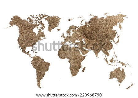 Leather world map isolated on white stock photo royalty free leather world map isolated on white with clipping path gumiabroncs Images