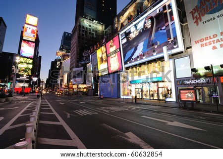 LED billboards on office buildings are the cornerstone of Times Square September 5, 2010 in Times Square New York, New York. - stock photo