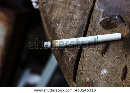 left the cigarette on table course of smoking leads in due course to various diseases.