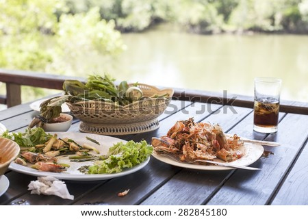 leftovers  shrimp after lunch, in a restaurant   - stock photo