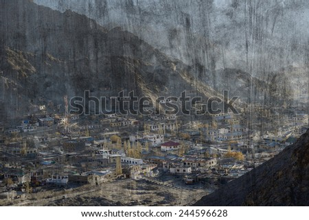 """Leh city in India"" Mural. The cement painting  concept"