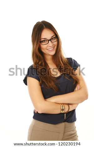 3/4 length beautiful young professional woman isolated on white - stock photo