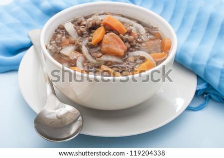 lentil in bowl - stock photo