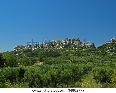 Les Baux-de-Provence is a small and beatiful  village near Saint Remy, in Provence, France - stock photo