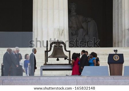 """Let Freedom Ring"" - President Obama and Former Presidents Bill Clinton and Jimmy Carter Commemorate the 50th Anniversary Of MLK's March On Washington, August 28, 2013."
