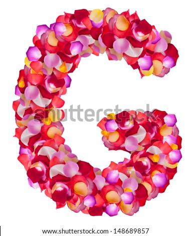 Letter G made from colorful petals rose,  isolated on a white background