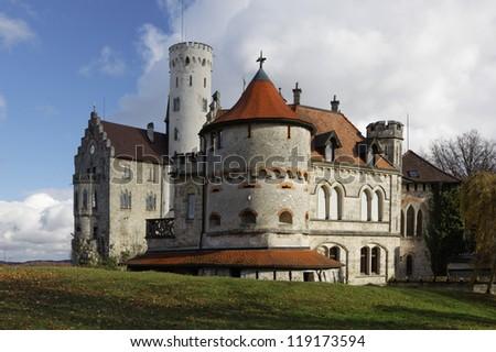 """""""Lichtenstein"""" Castle in autumn, Germany - stock photo"""