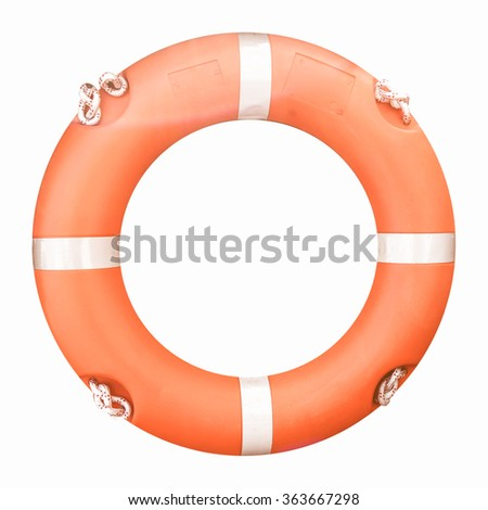 Life buoy isolated over a white background vintage
