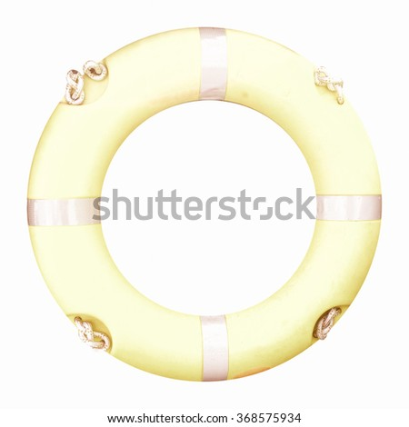 Life buoy isolated over a white background vintage - stock photo