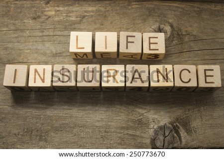 life insurance text on a wooden background - stock photo