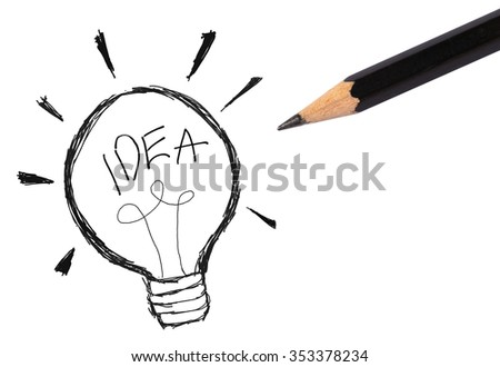 light bulb icon with concept of idea sketch  - stock photo