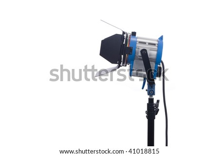 Lighting equipment one lamp lit, Isolated on white. - stock photo