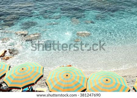 Ligurian coast in Monterosso al Mare Cinque Terre La Spezia Italy - stock photo