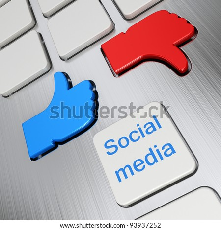 """Like"" and ""Unlike"" buttons 3d render and social media keyboard button - stock photo"
