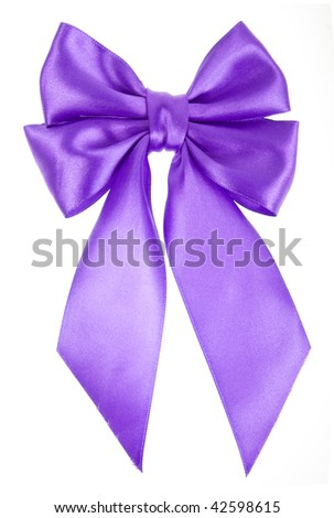lilac holiday ribbon bow isolated on white background - stock photo