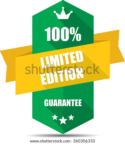 100% limited edition green Label, Sticker, Tag, Sign And Icon Banner Business Concept, Design Modern With Crown. - stock photo