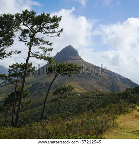Lion's Head peak, as seen from the  Signal hill. Part of Table Mountain National Park, mountain, Cape Town, South Africa - stock photo