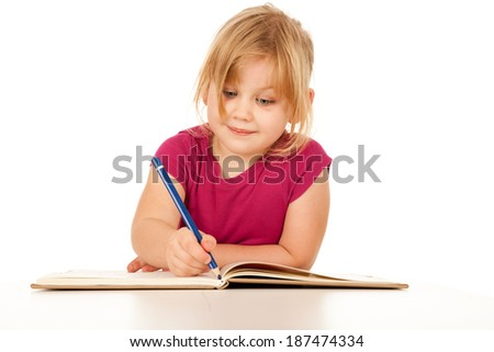 little girl drawing picture, white background - stock photo