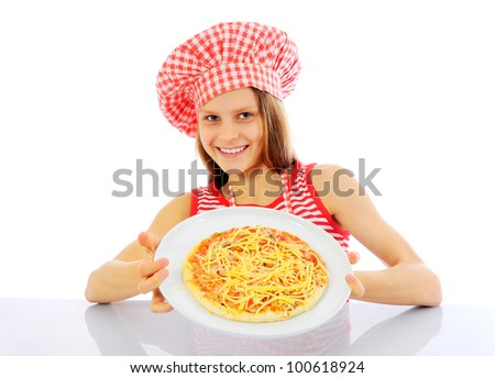 Little girl dressed as chefs preparing a pizza - isolated - stock photo