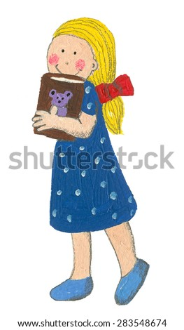 Little girl holding book isolated in white - artistic content - stock photo