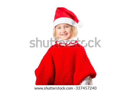 little girl in a hat Santa Claus isolated on white background.