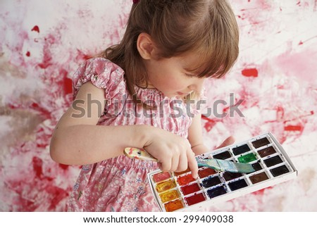 little girl is going to paint, art style - stock photo