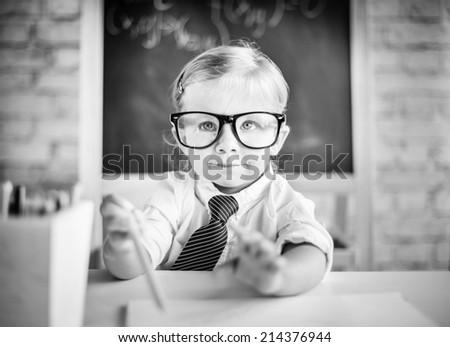 Little student - stock photo