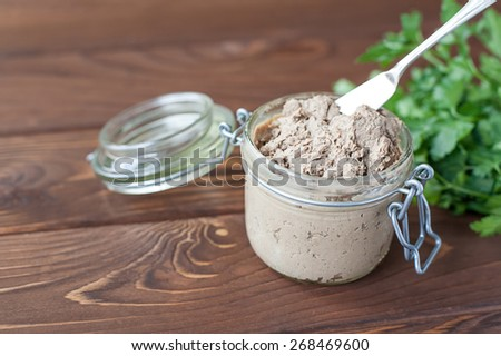 Liver pate with sandwiches - stock photo