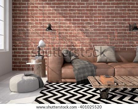 living room loft interior. 3d rendering - stock photo