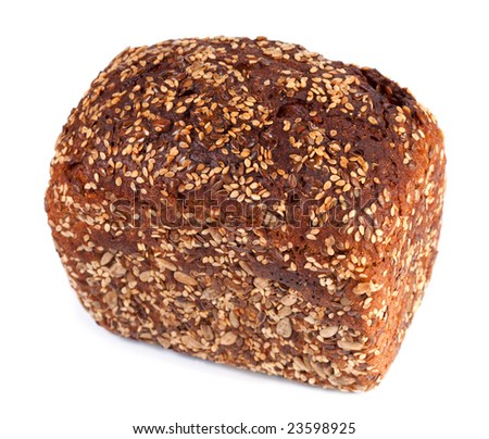 loaf of whole rye bread on light background