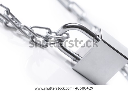 Lock and chain  on the white background
