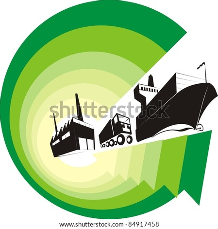 """Logistics Going Green"" color raster illustration - Green arrows symbolizing the environment-friendly logistics world - stock photo"