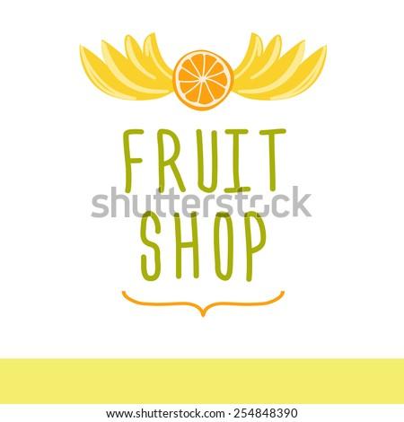 logo for a market of fruits, fruit juice labels.Fresh fruit. - stock photo